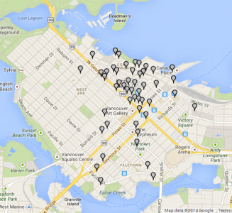 Map of surveyed buildings